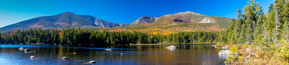 Sandy Stream Pond Toward Katahdin Panorama 1